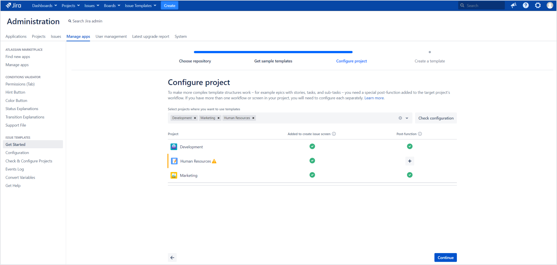 Issue Templates for Jira - Configure project