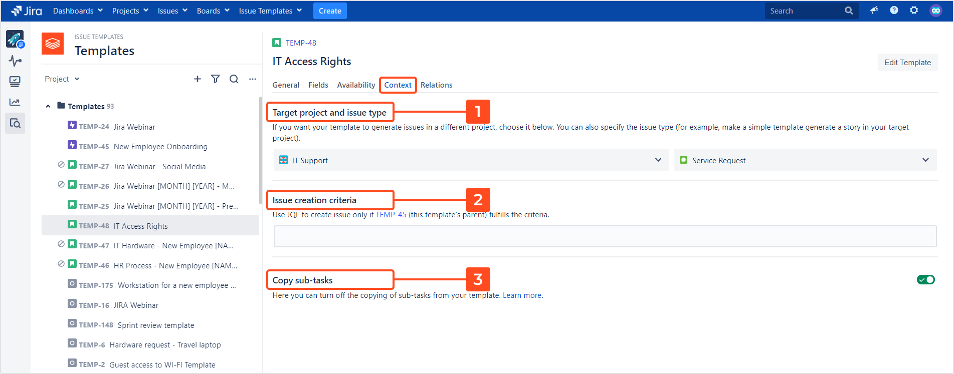 Issue Templates for Jira - Template Details: Context