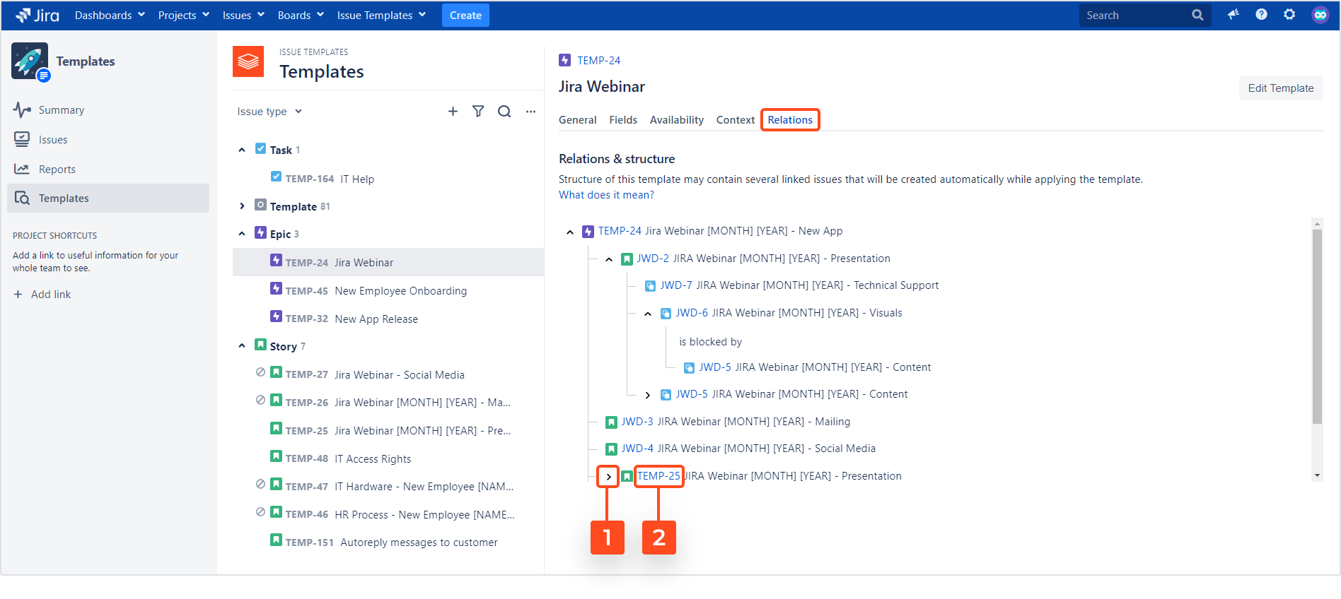 Issue Templates for Jira - Template Details: Relations