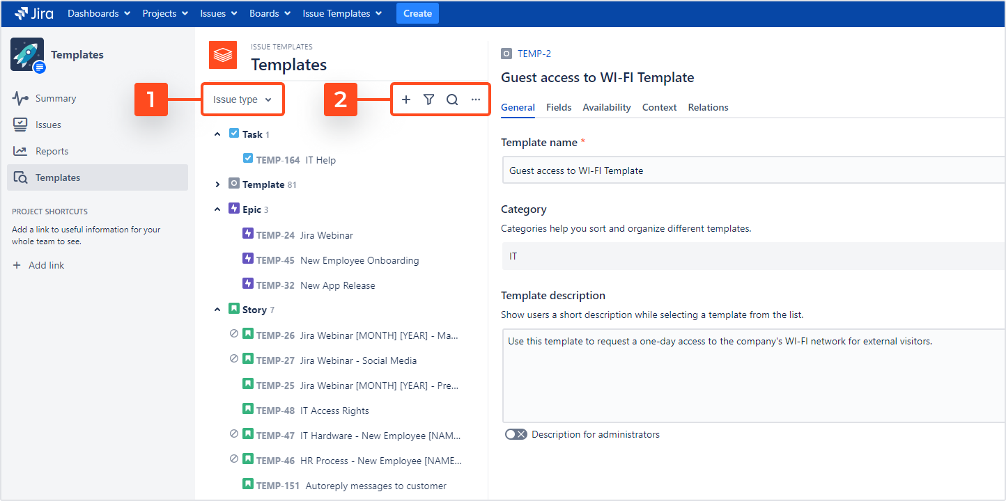 Issue Templates for Jira - Template Navigator: Browse and Filter Options