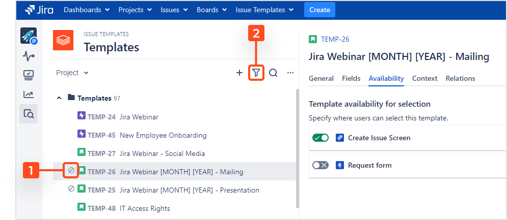 Issue Templates for Jira - Template Navigator: Unselectable Templates