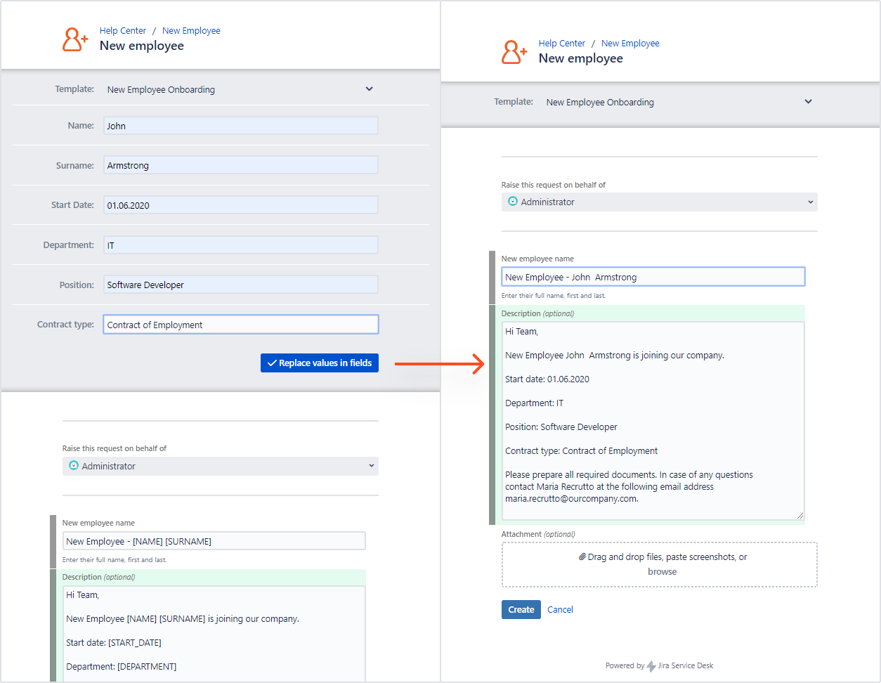 Issue Templates for Jira - Variables on the Customer Portal