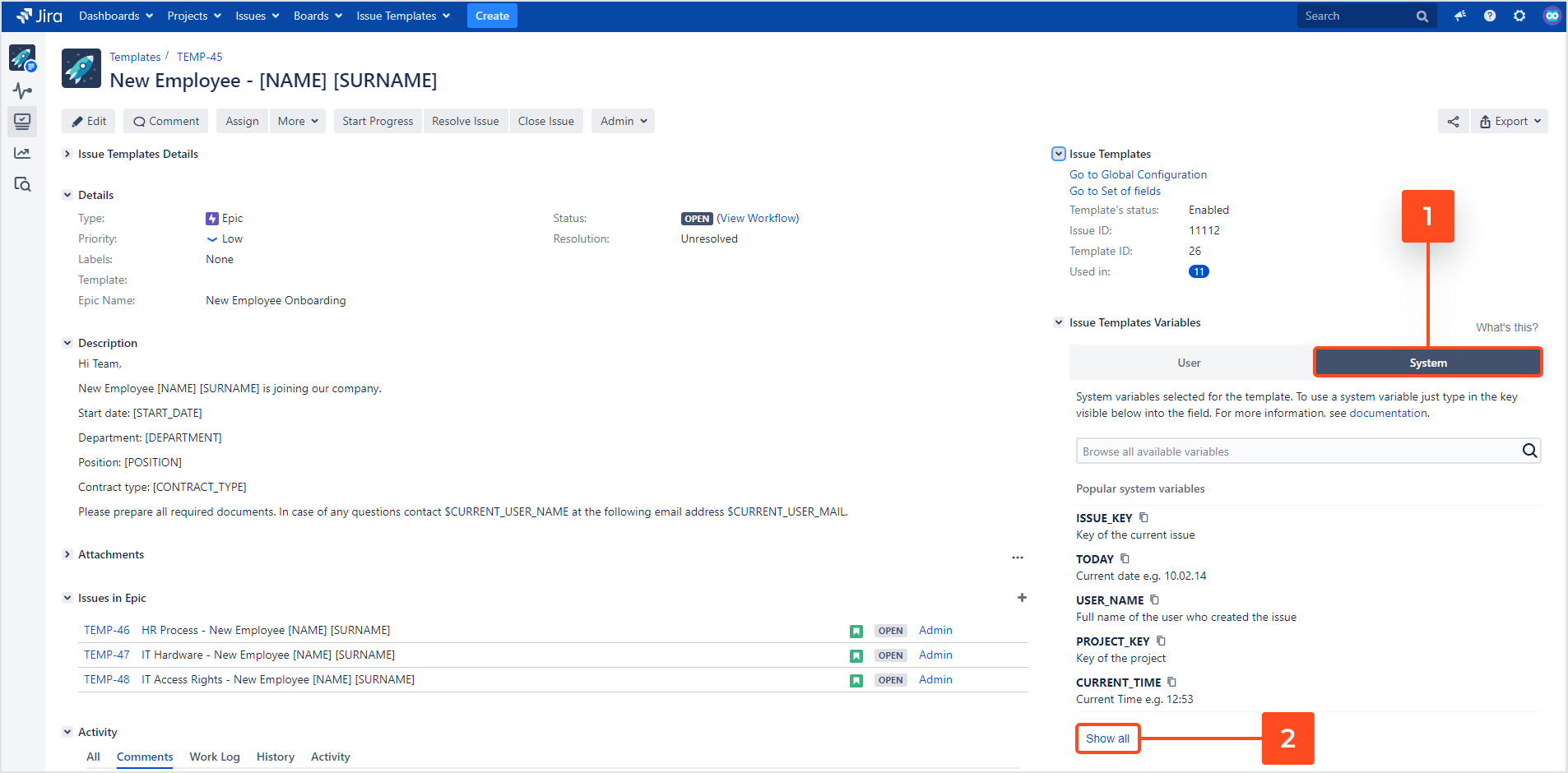 Issue Templates for Jira - Variables