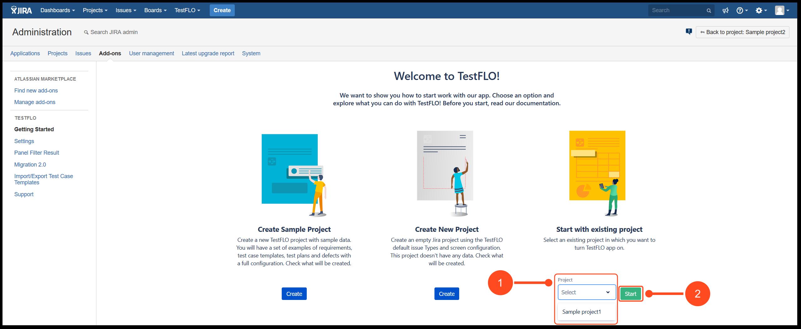 Start with TestFLO Jira Test Management