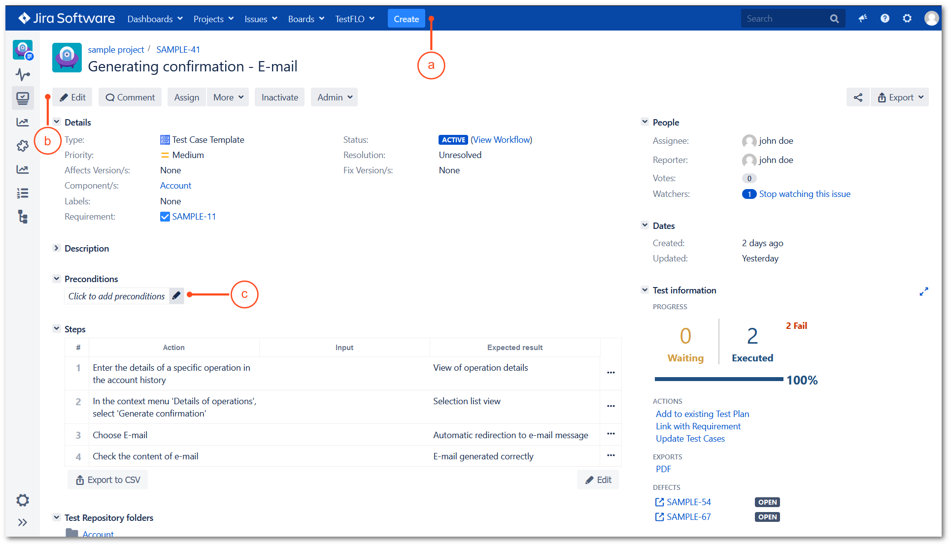 Edit preconditions with TestFLO Jira Test Management