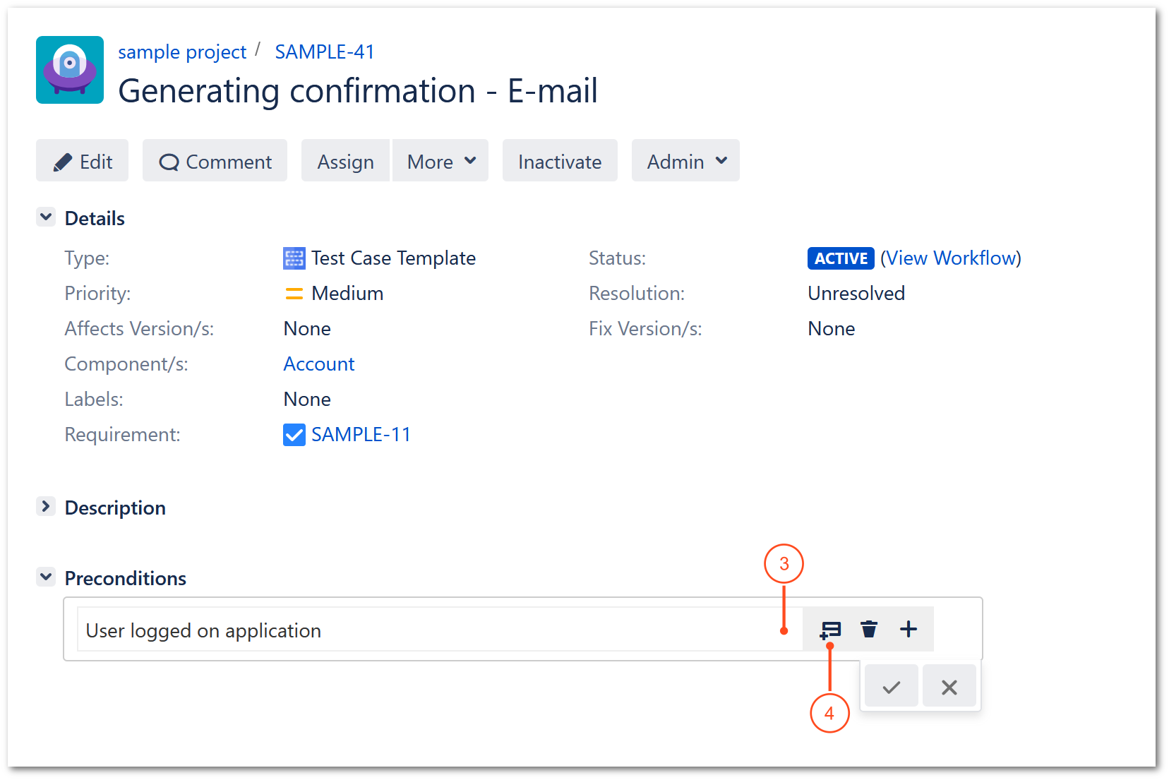Add preconditions with TestFLO Jira Test Management