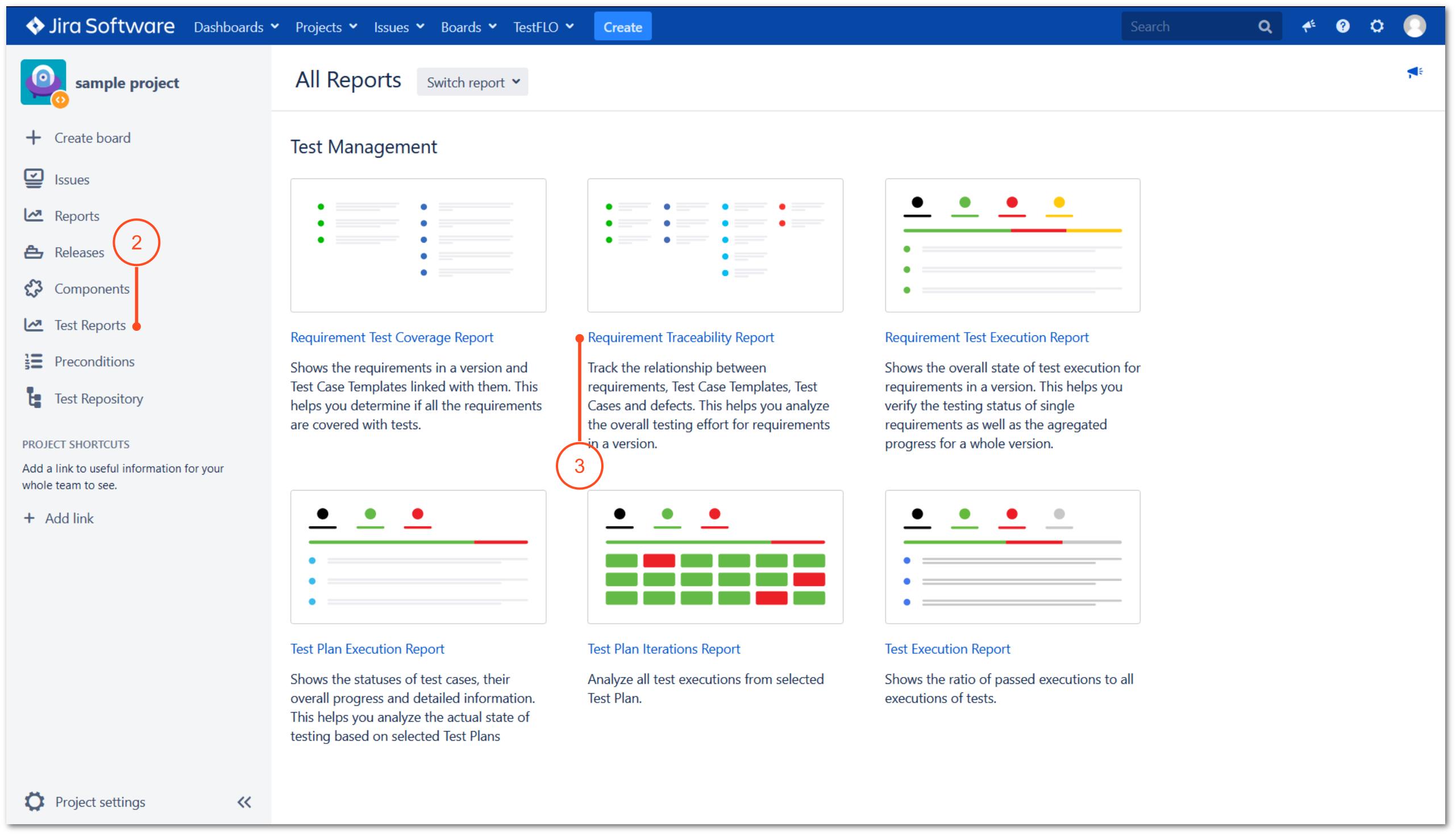 Traceability Report in TestFLO Test Management
