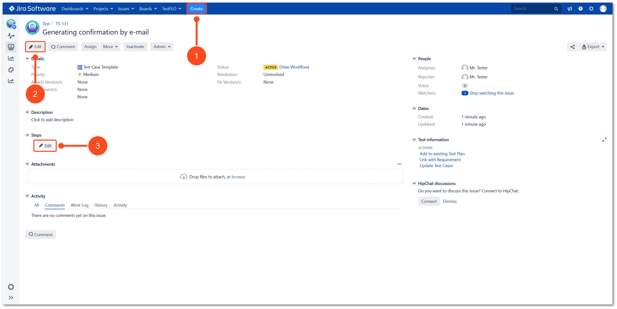 Edit steps with TestFLO Jira Test Management