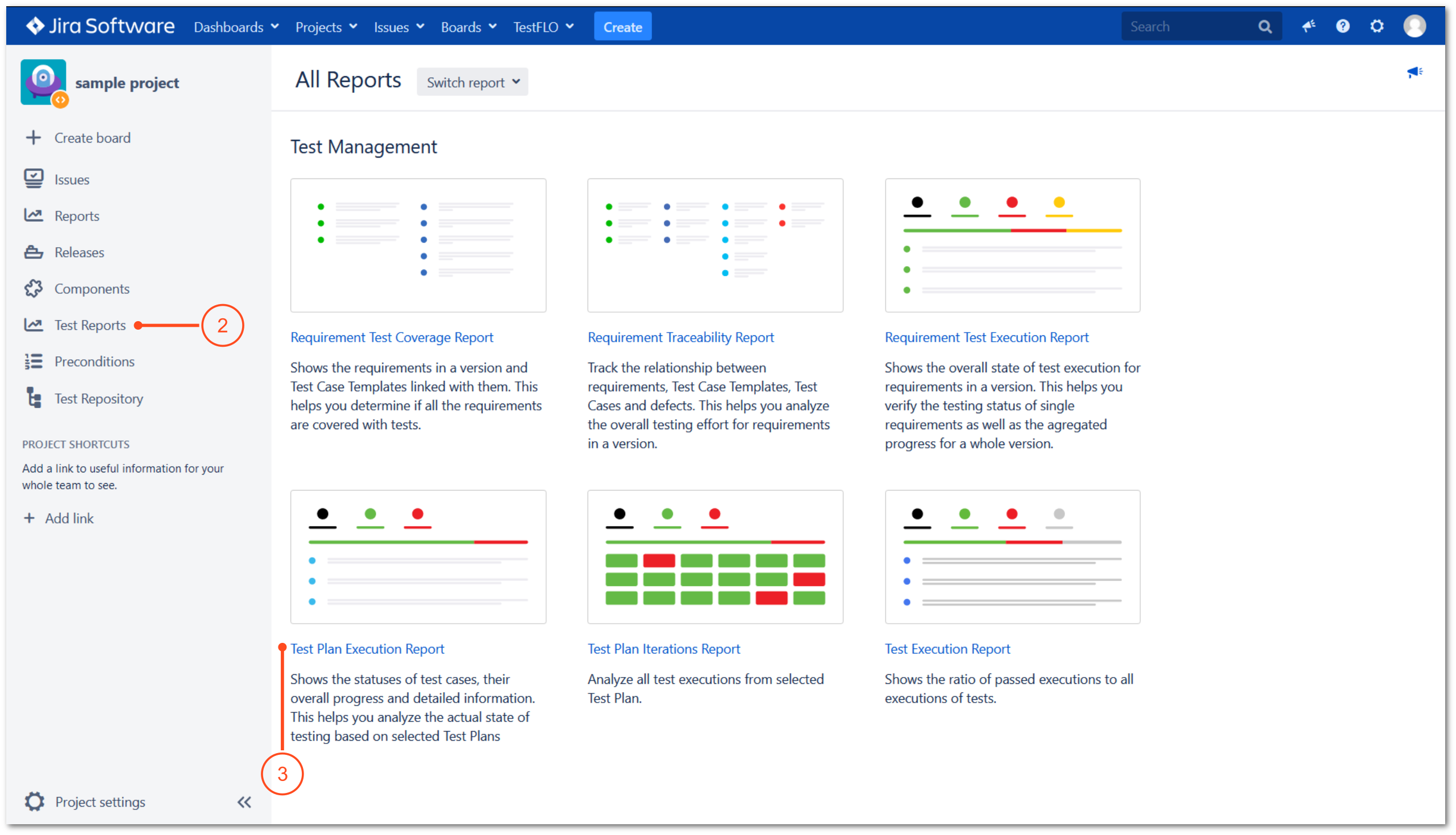 Report with TestFLO Jira Test Management