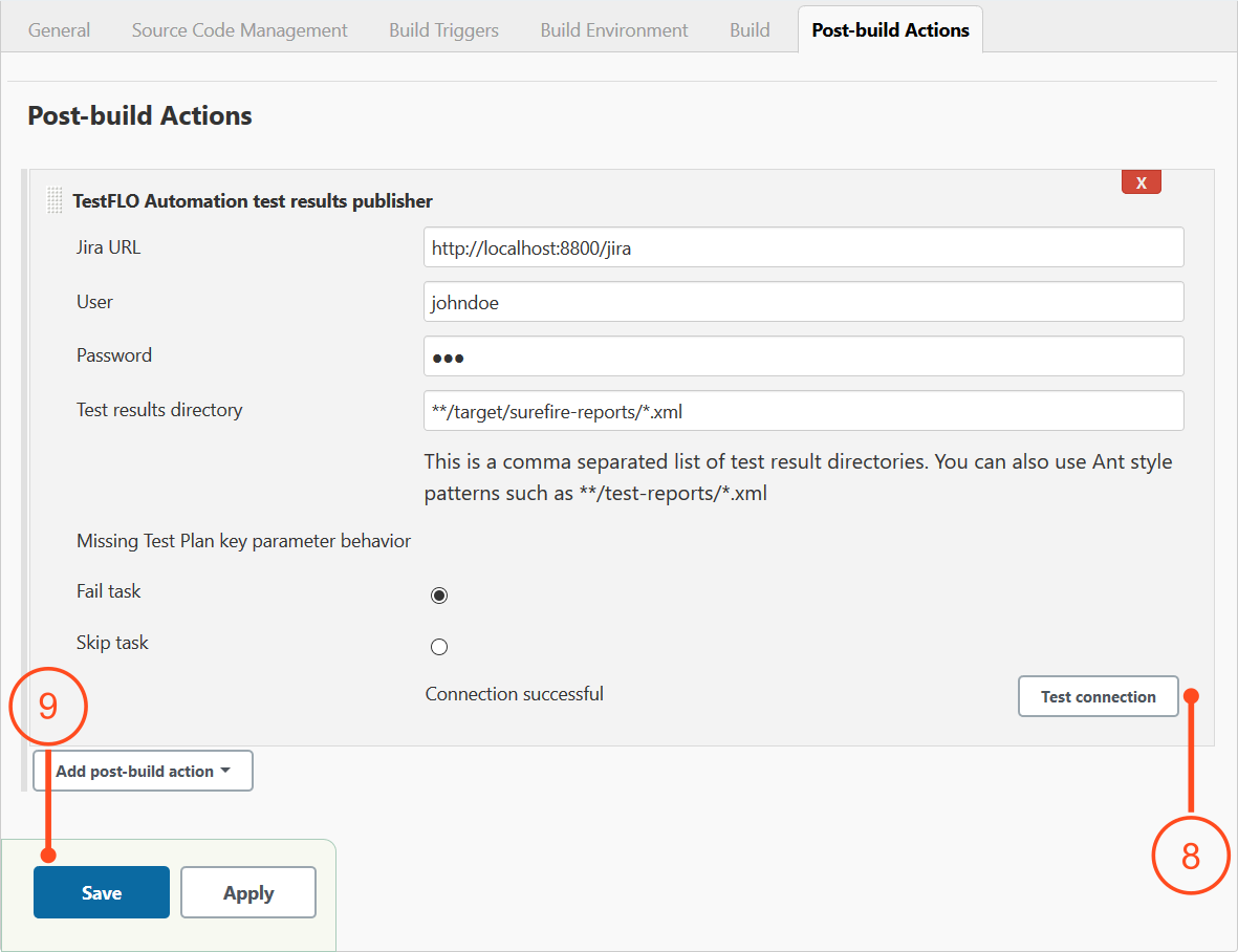 Post-build action in Jenkins job configuration