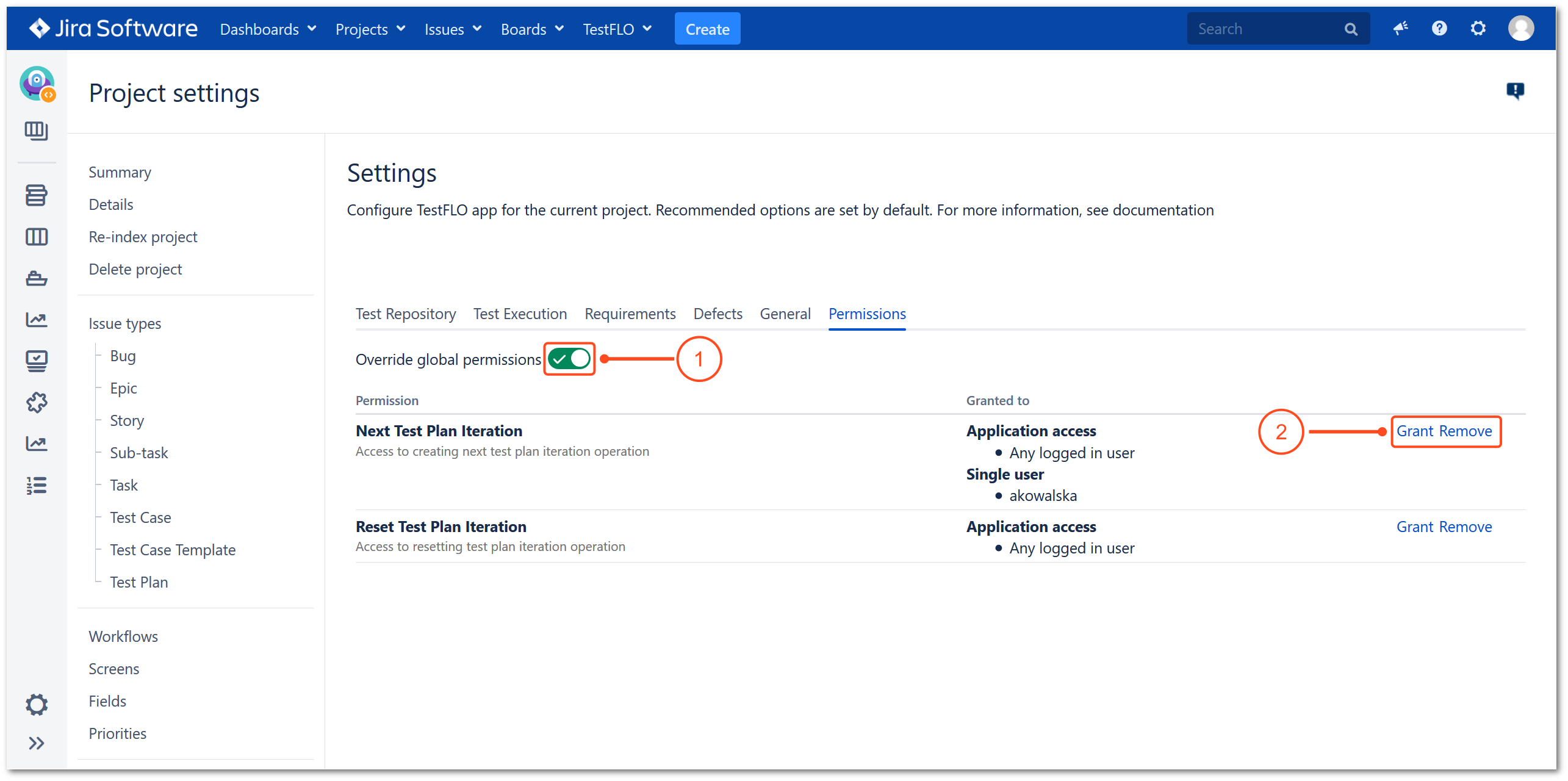 Override global permissions in project settings