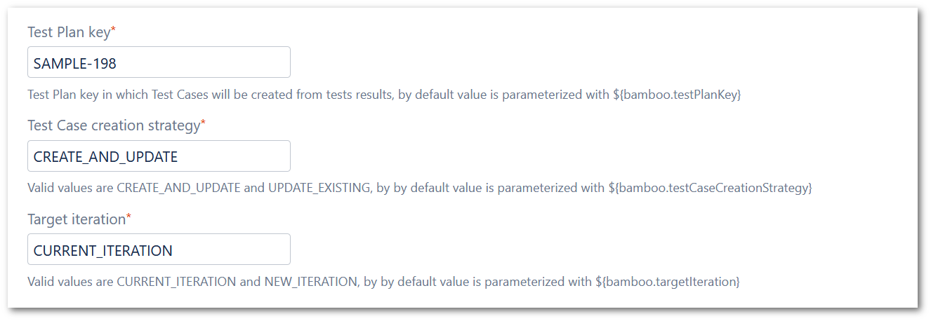 Example of completed parameters in Bamboo for run automated tests to TestFLO - Test Managemenet in Jira