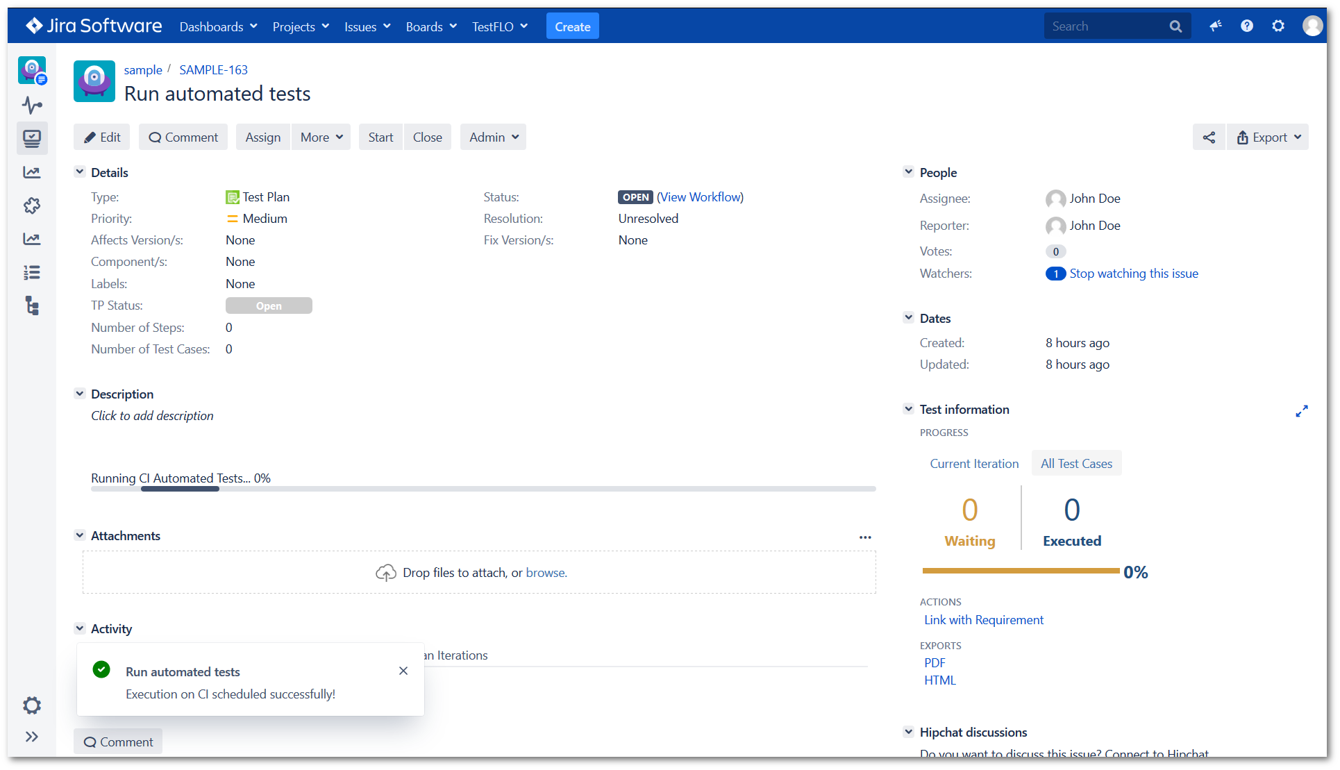 The progress of Running CI Automated Tests in Test Plan in TestFLO - Test Management in Jira