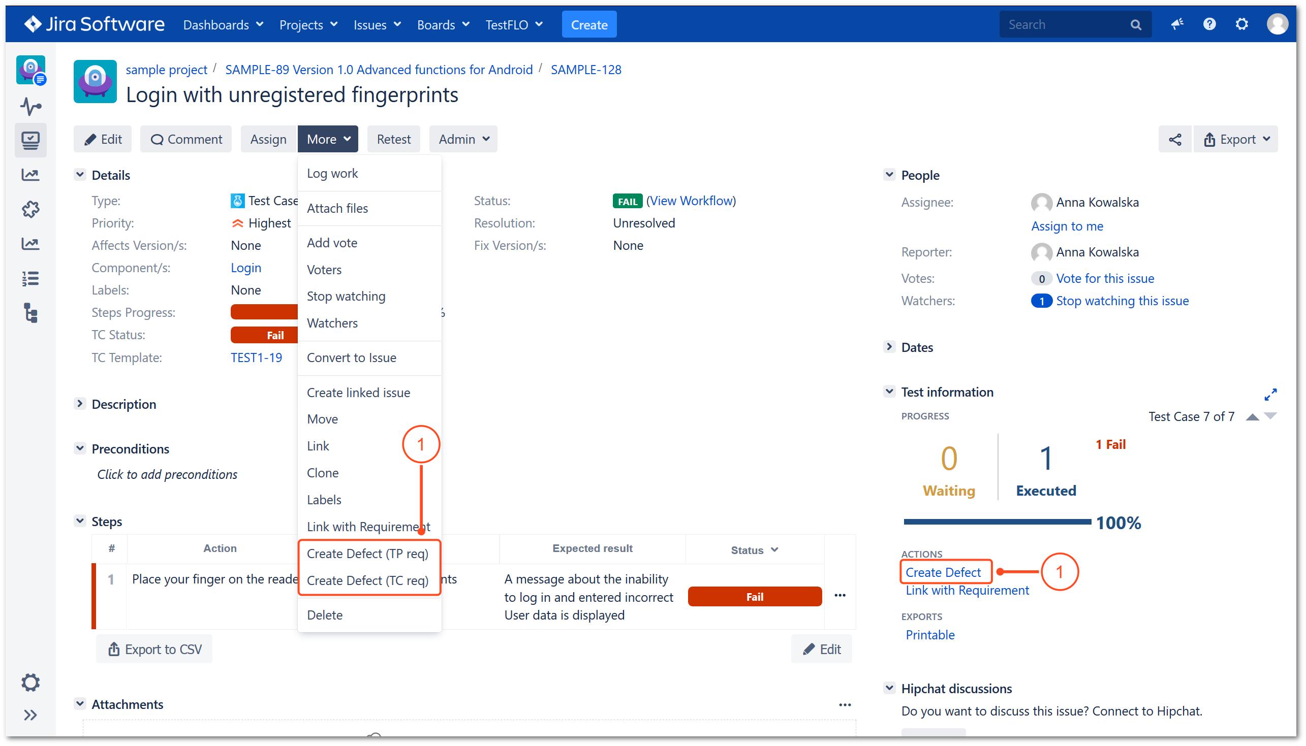 Create Defect operation in TestFLO Jira Test Management