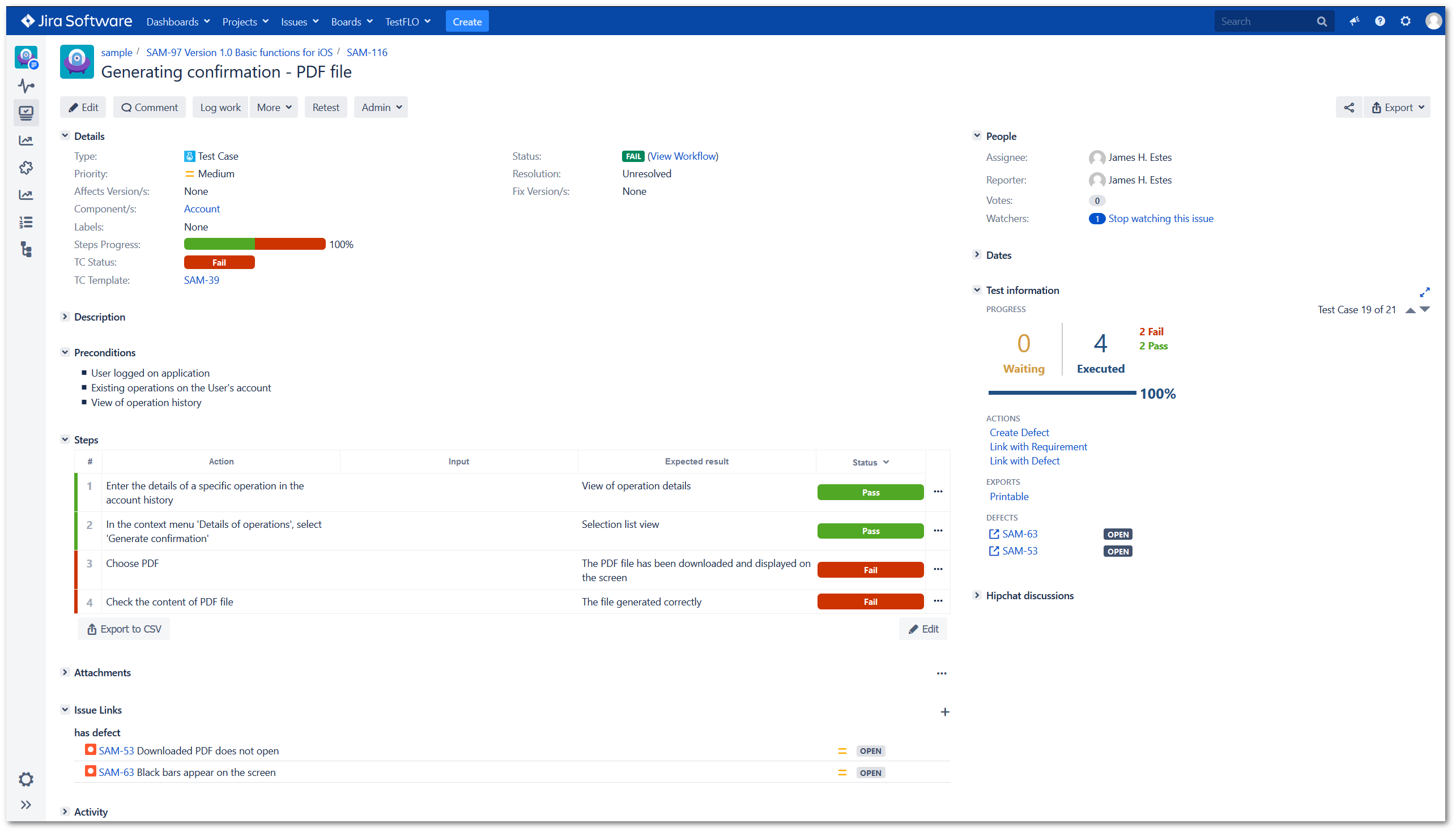 Link with Defect operation in TestFLO Jira Test Management