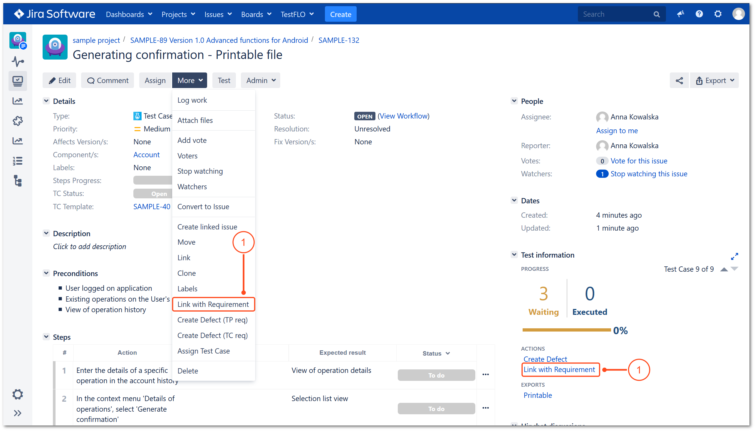Link with Requirement operation in TestFLO Jira Test Management