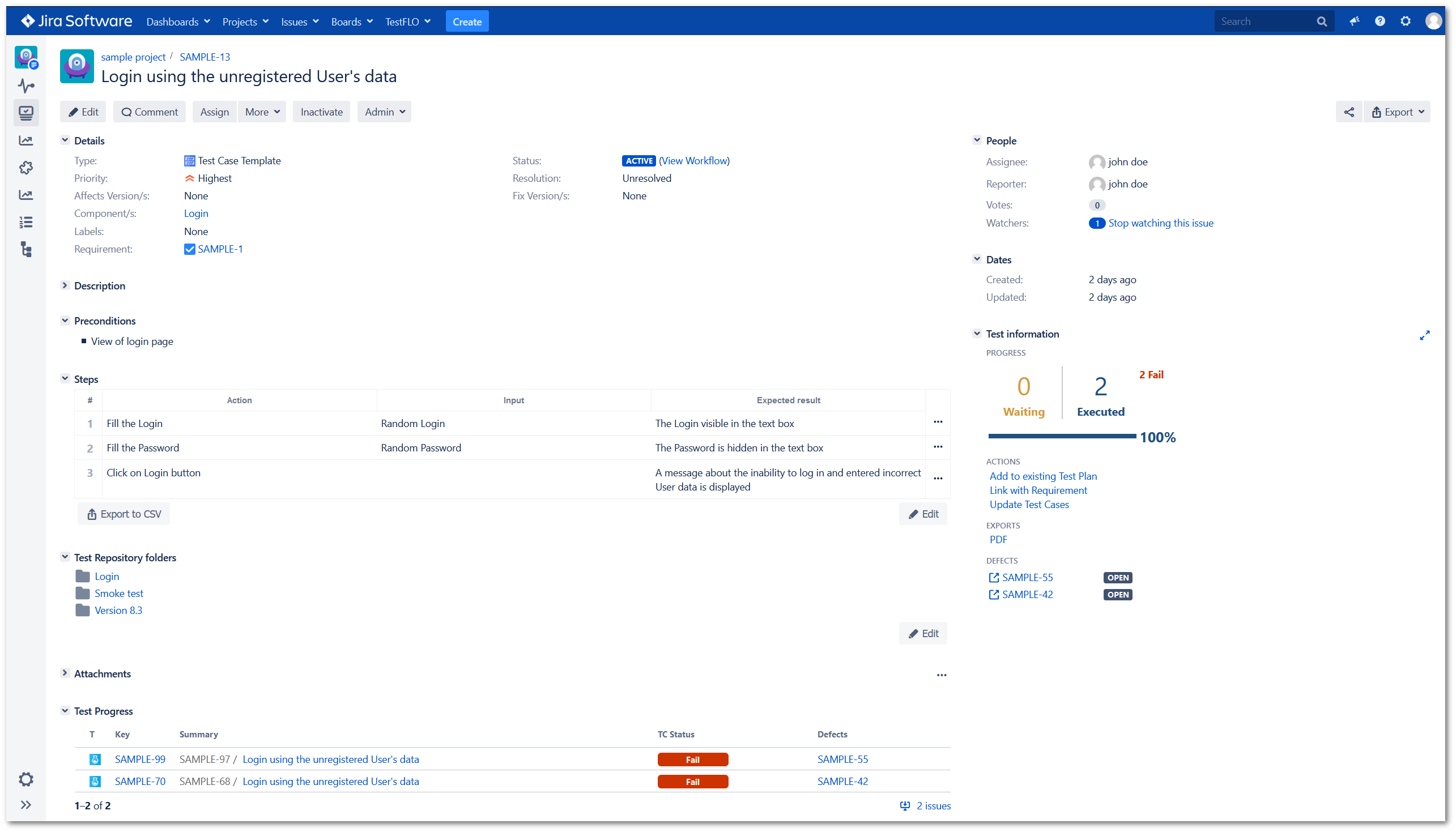 Writing tests with Jira Test Management