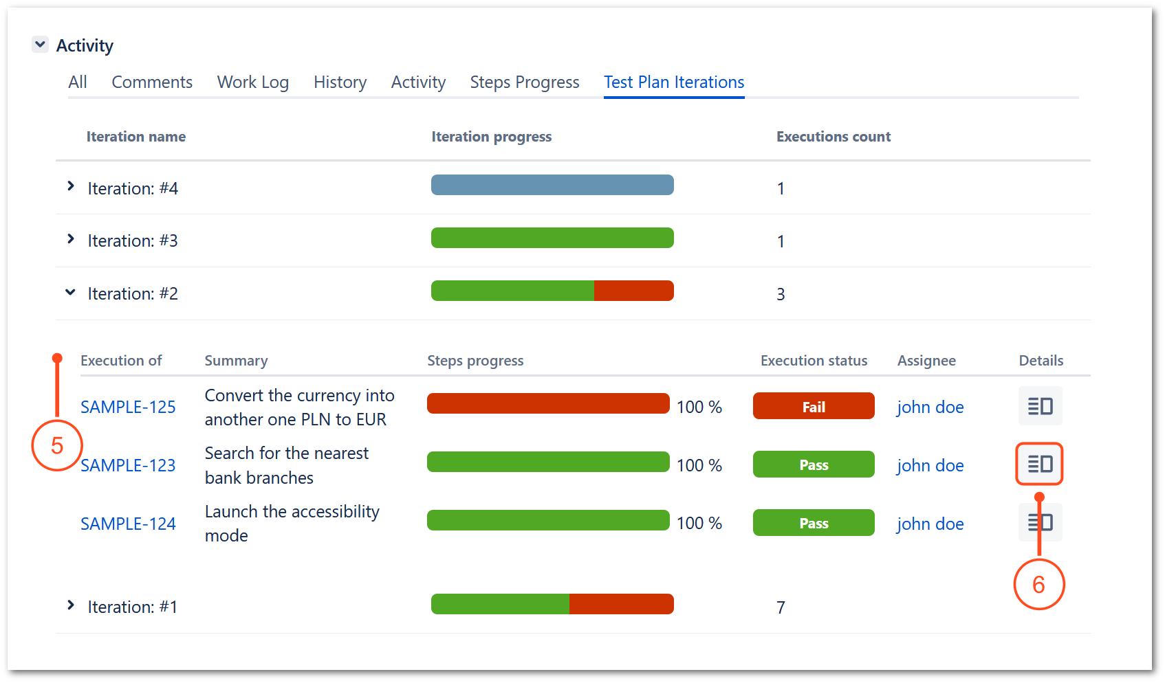 Test Plan iterations tab