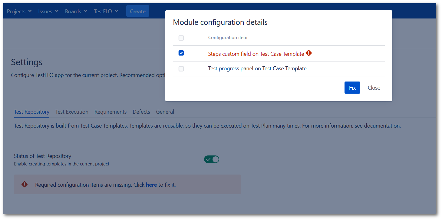 Validation message in the Test Repository tab