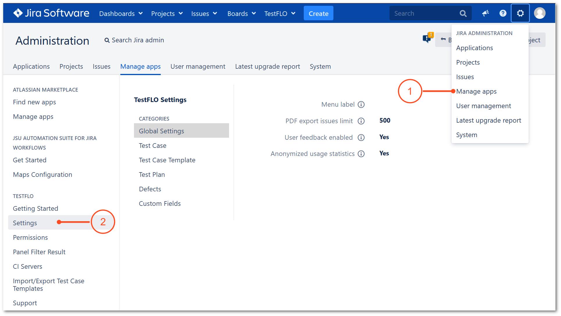 TestFLO settings