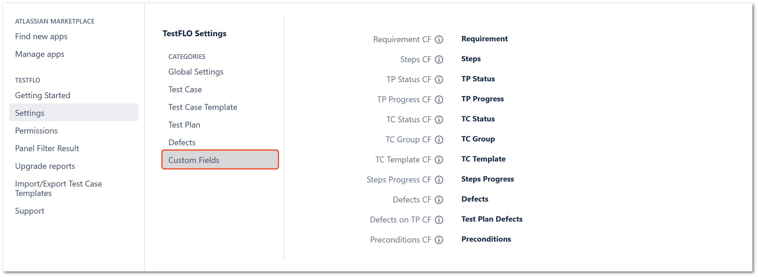 Custom Fields section in TestFLO settings