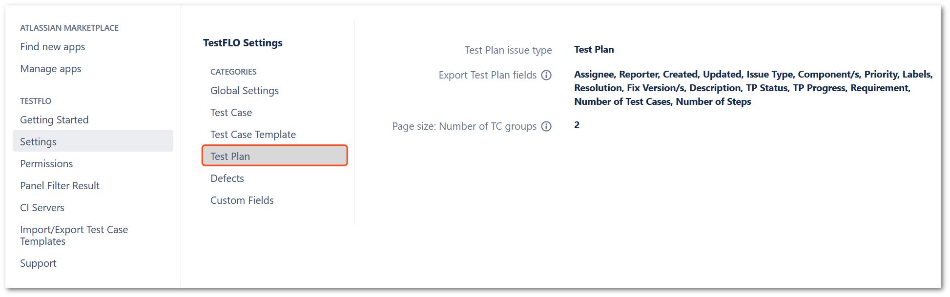 Test Plan section in TestFLO settings