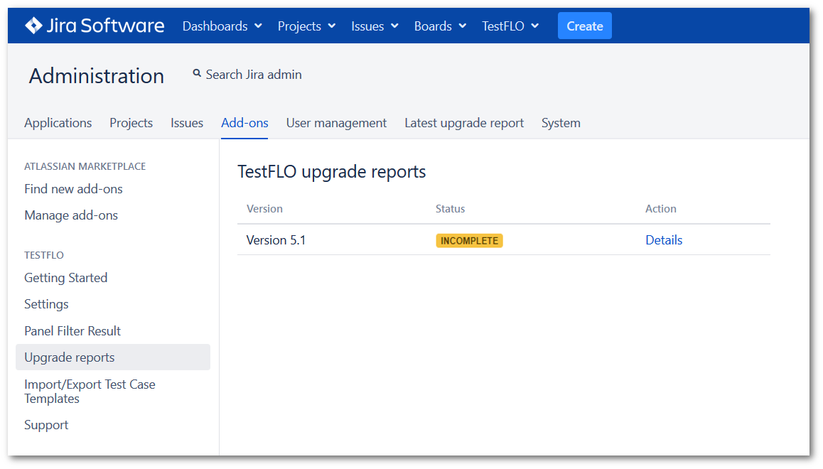 Upgrade reports page