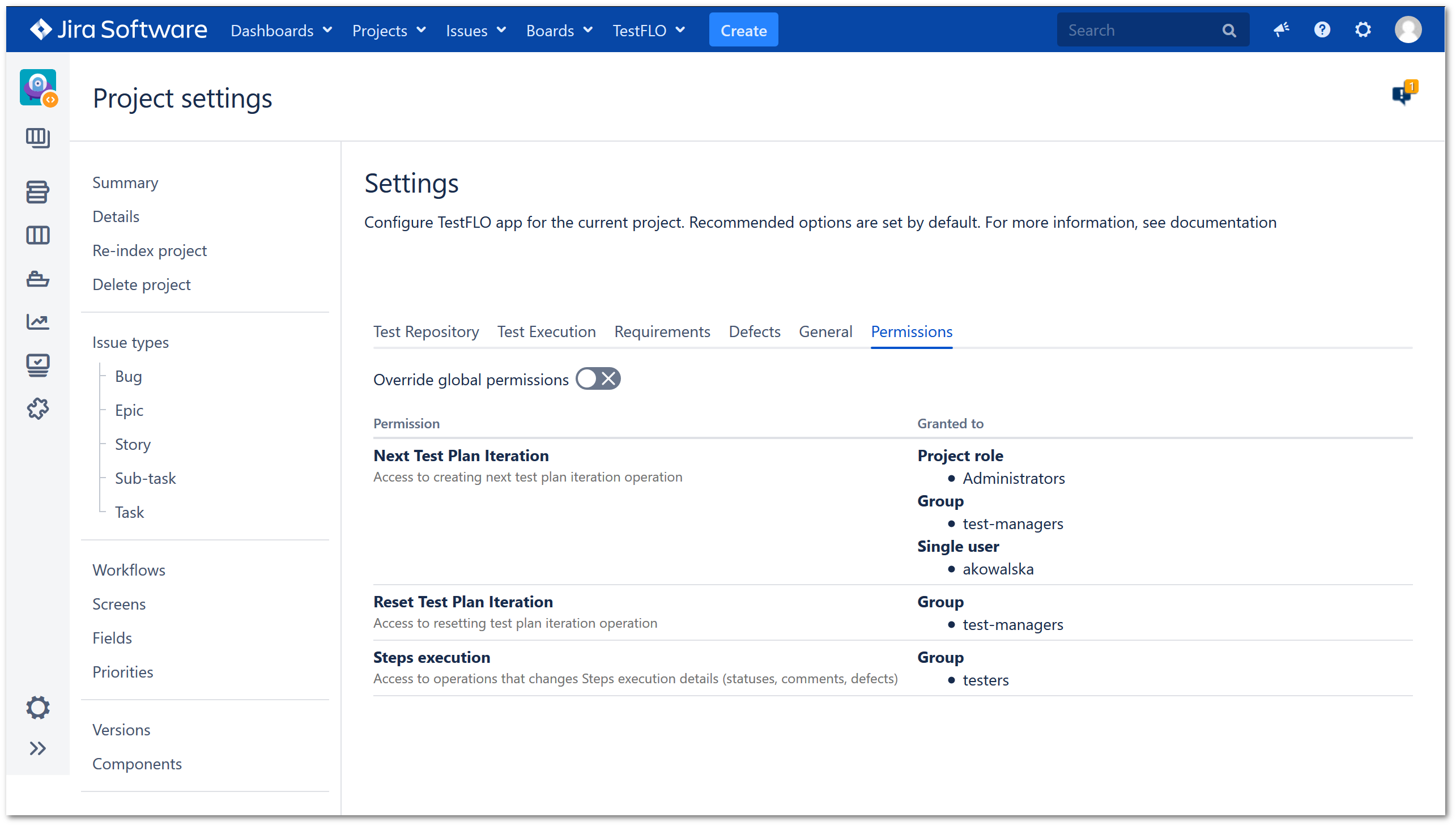 Permissions in project settings