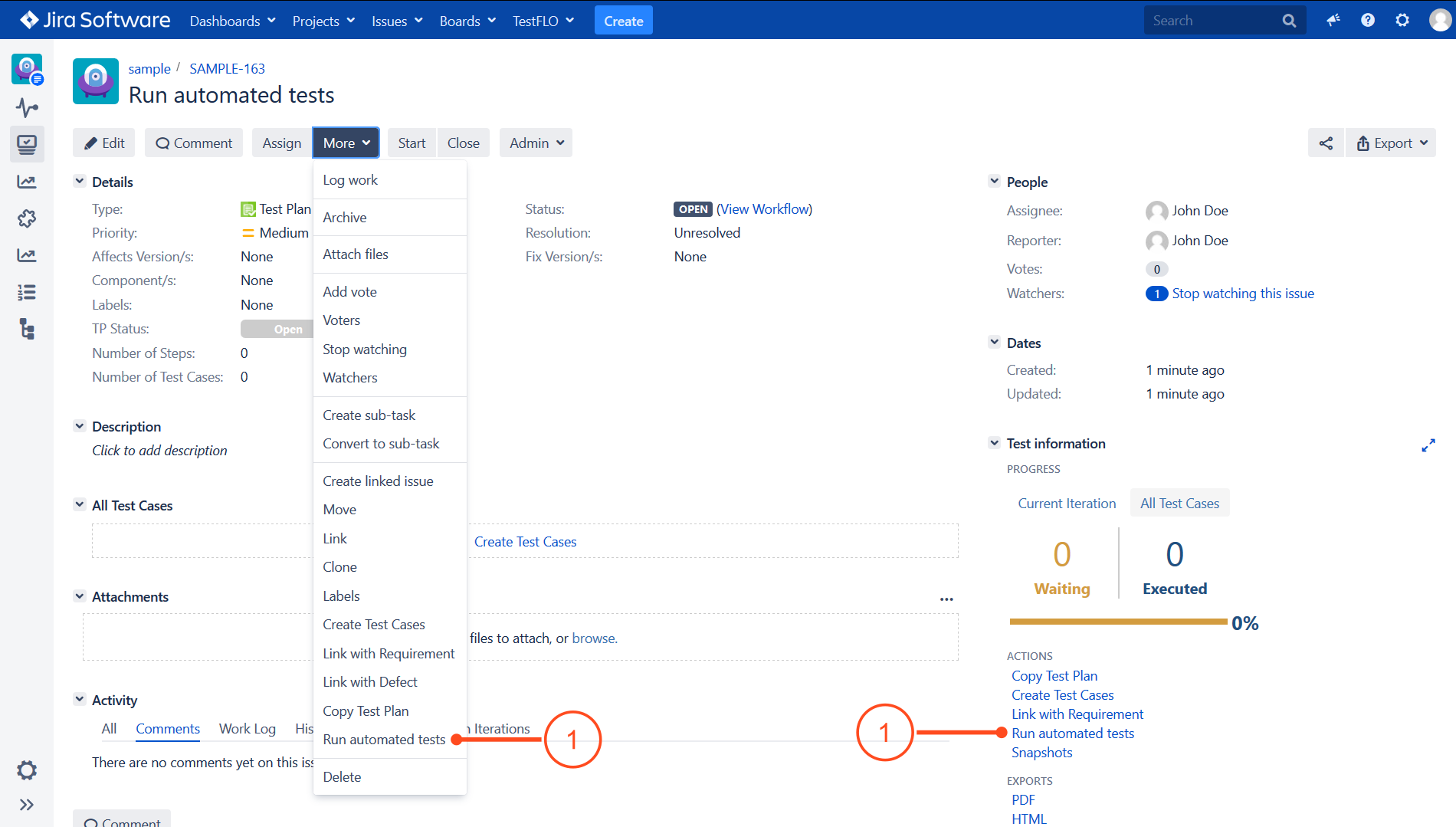 Run automated tests operation in Test Plan in TestFLO - Test Management in Jira
