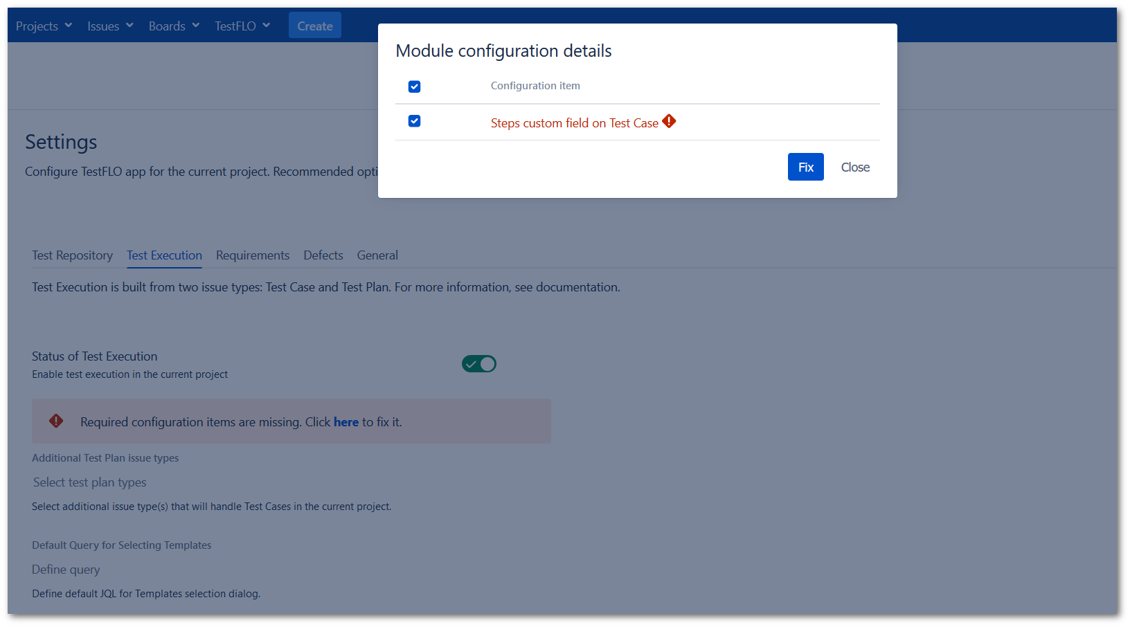 Validation message in the Test Execution tab