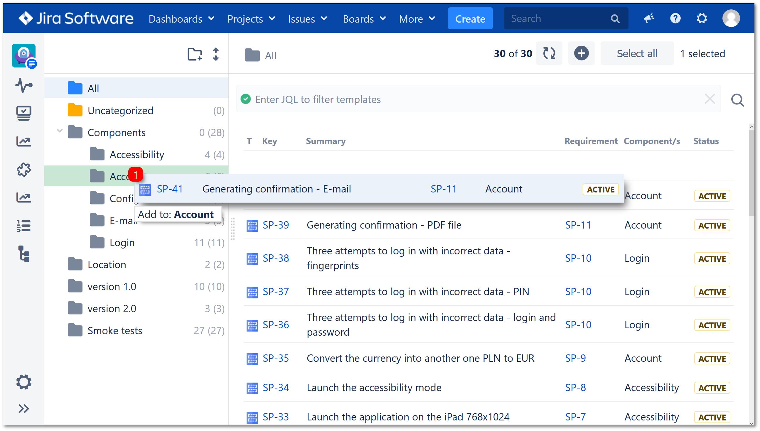 Test Repository folder tree