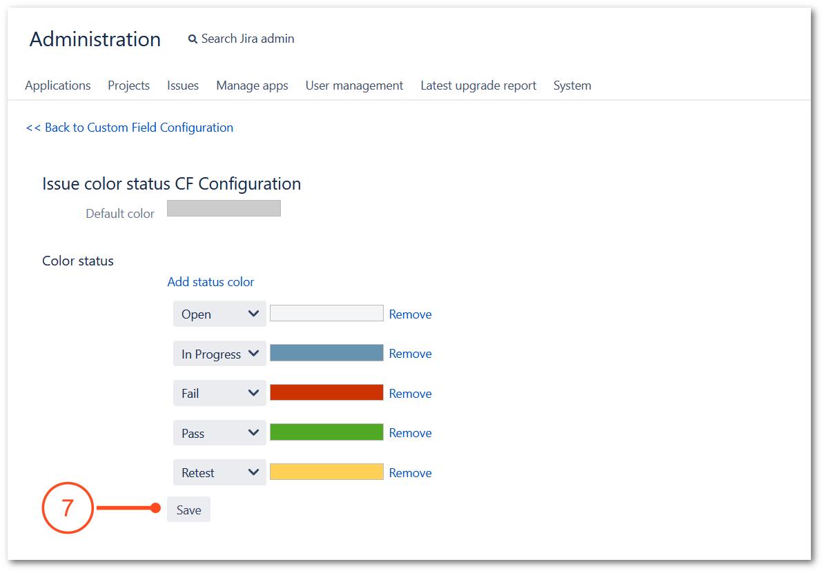 Configuration of TestFLO - Issue color status