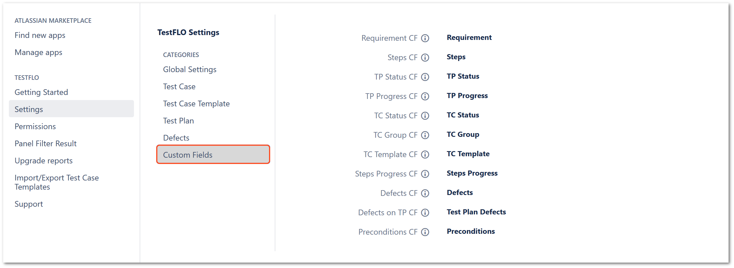 Custom Fields section in TestFLO settings