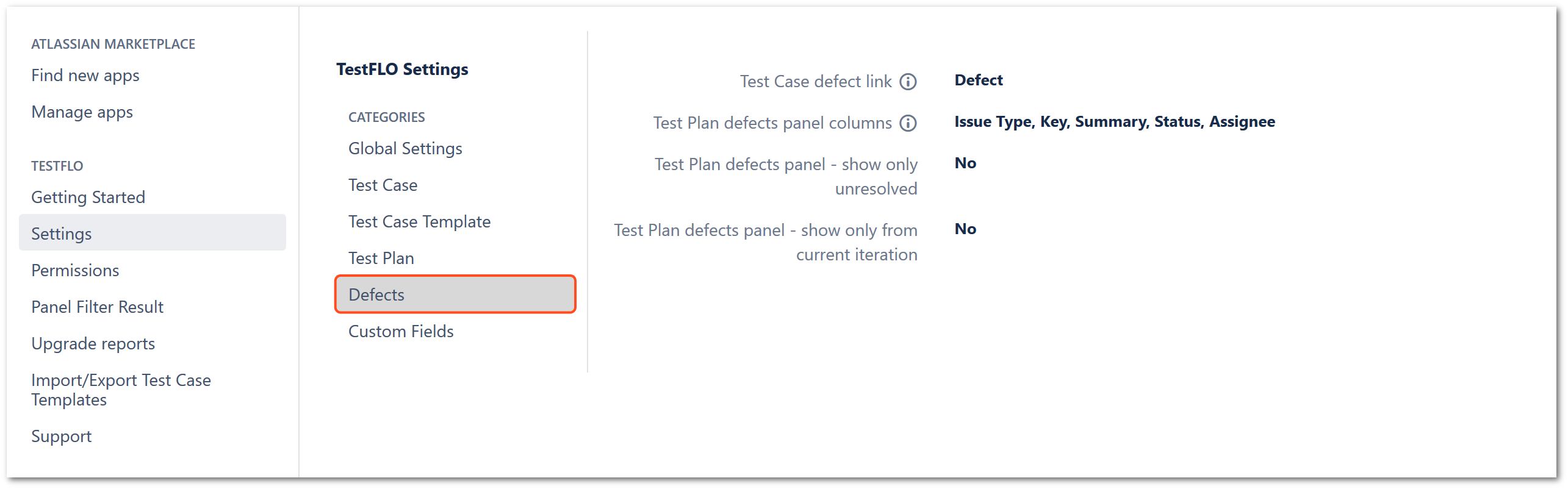 Defects section in TestFLO settings
