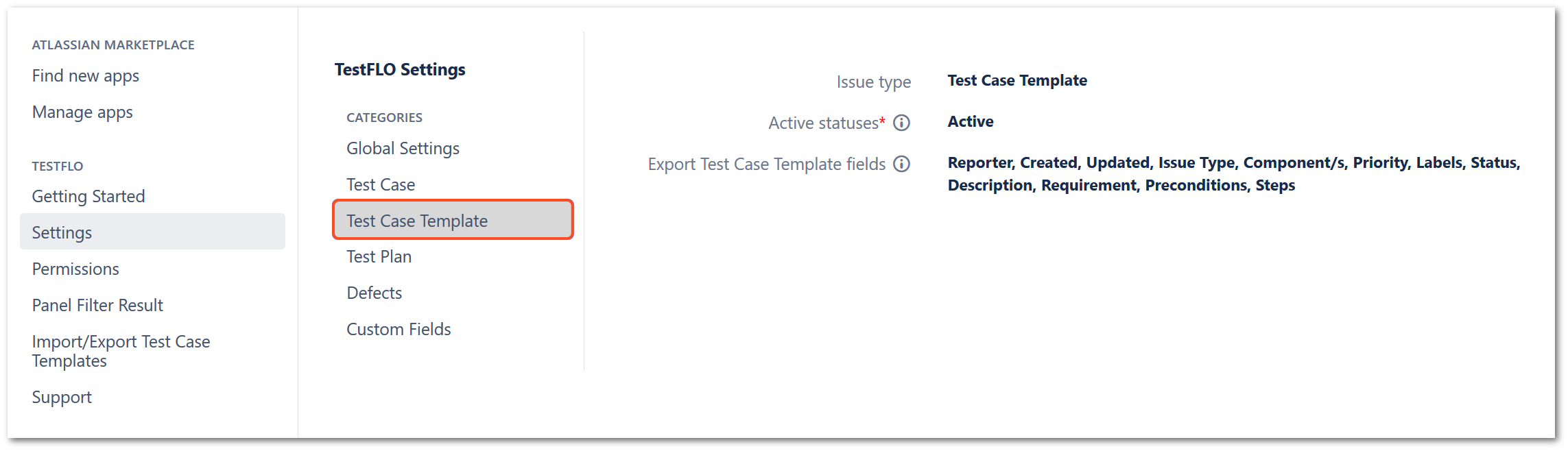 Test case template section in TestFLO settings