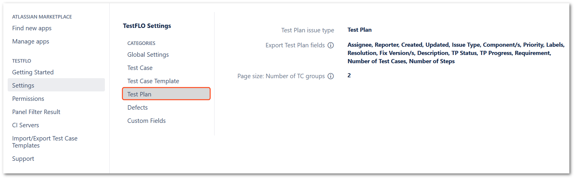 Test Plan section in TestFLO settings