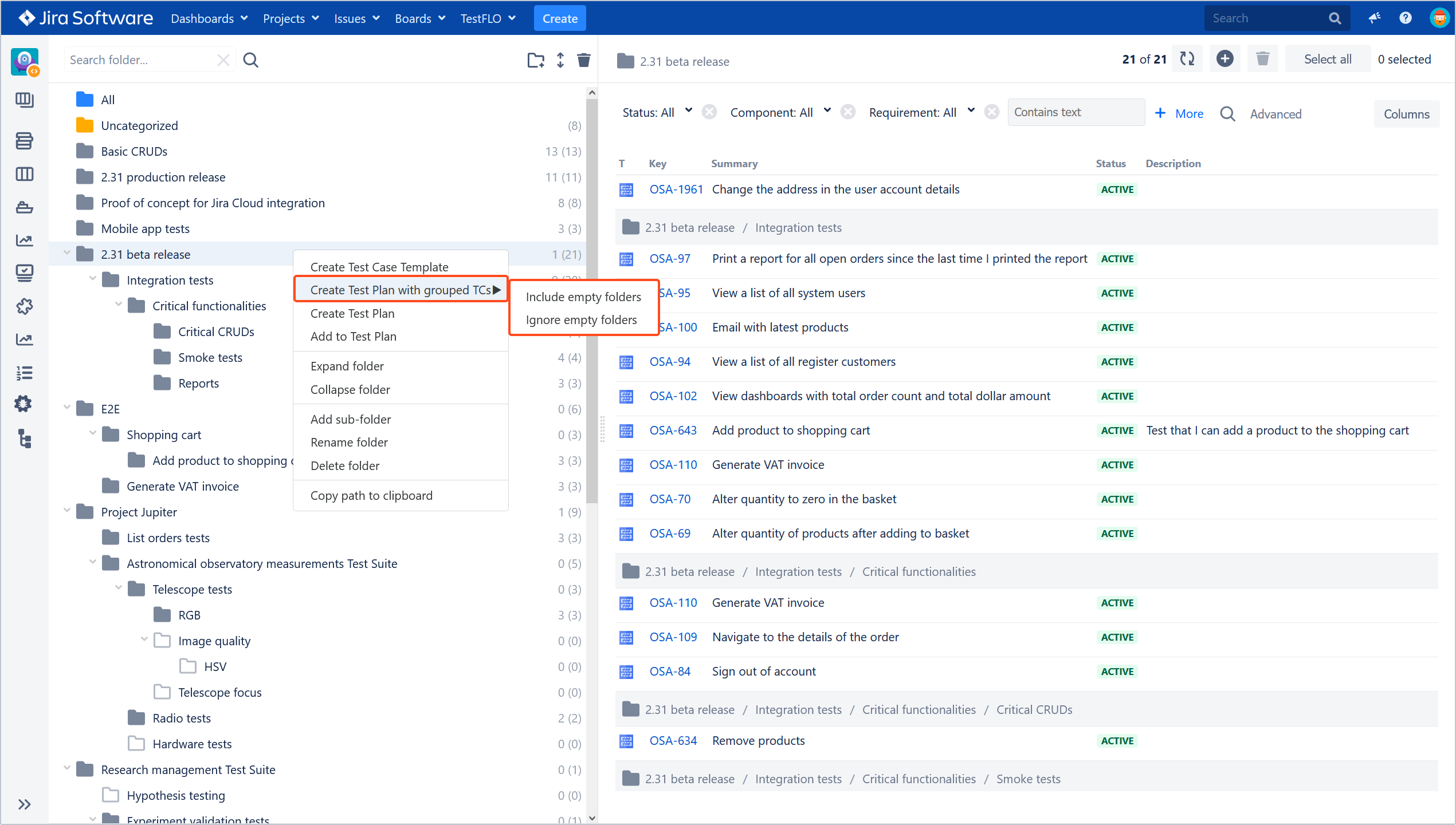 create test plan and test cases from test repository