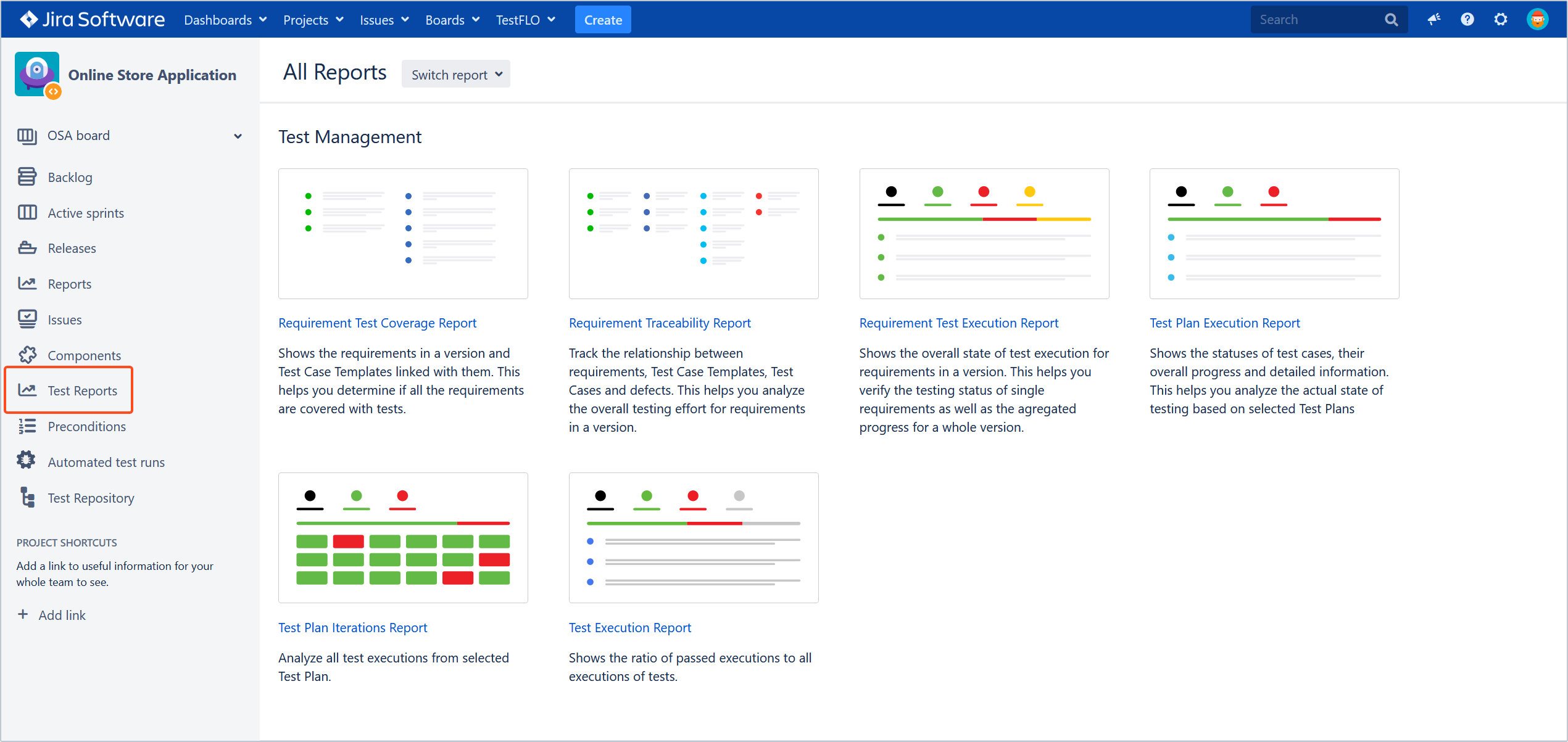 View of Test Reports