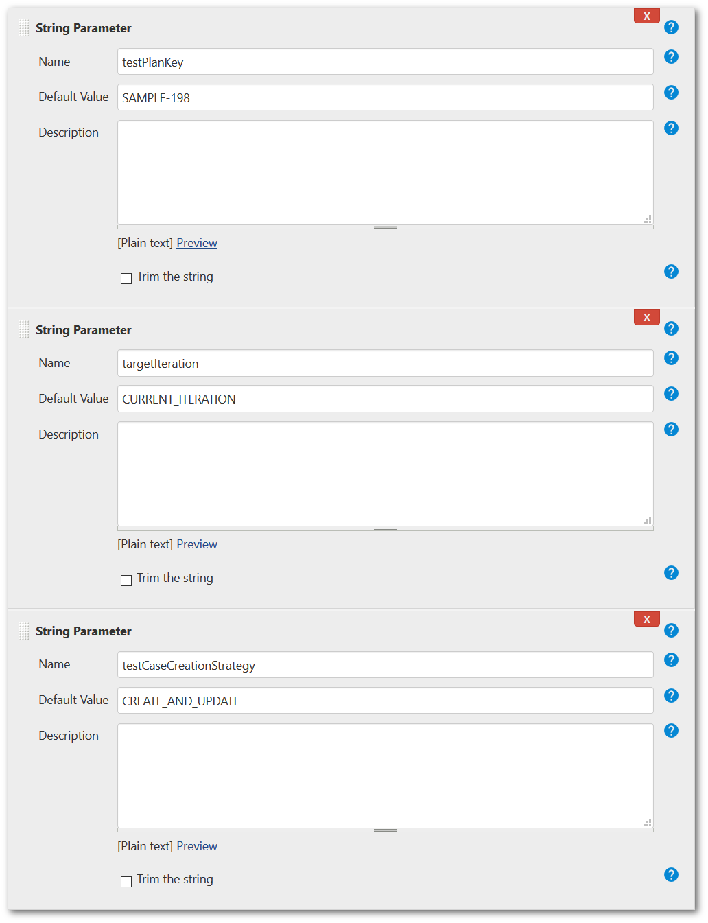 Example of completed parameters in Jenkins for run automated tests to TestFLO - Test Managemenet in Jira
