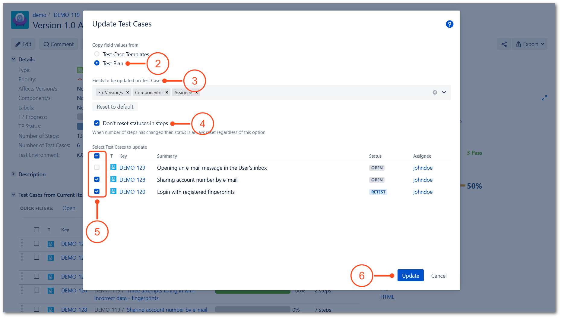 Update Test Cases operation in TestFLO Jira Test Management