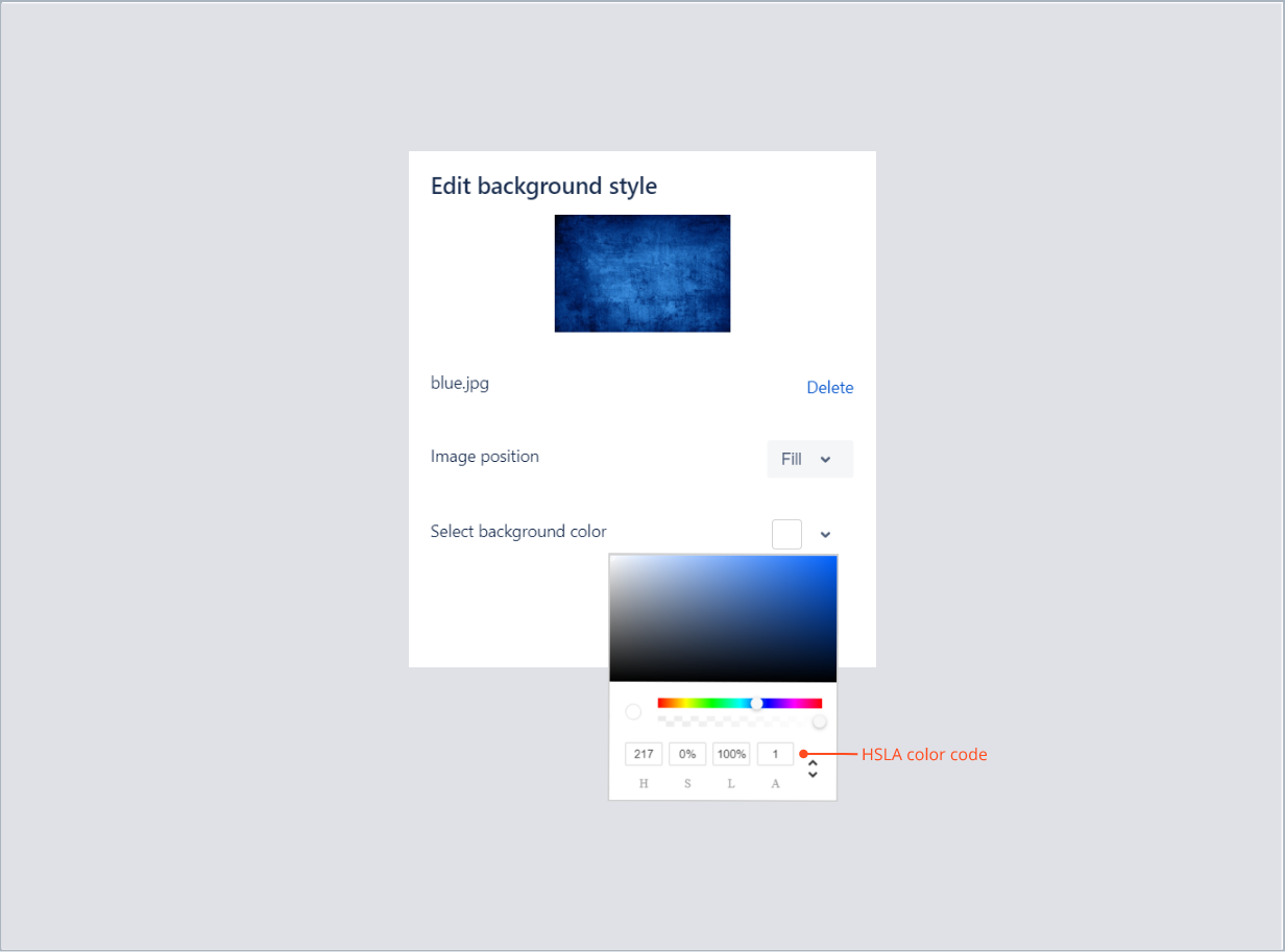 Entering the HSLA color code in bottom background with Theme Extension for Jira Service Management