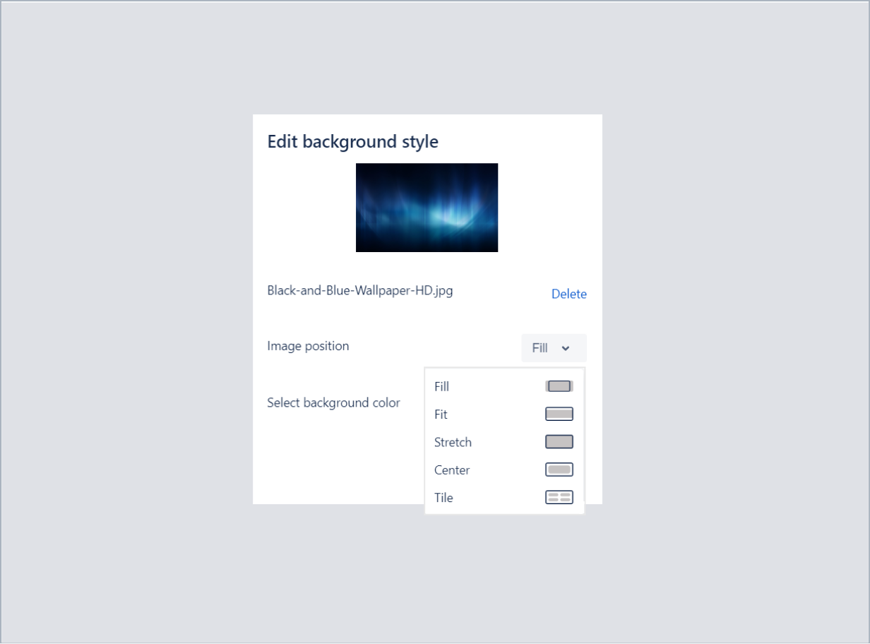 Setting an image position in top background with Theme Extension for Jira Service Management