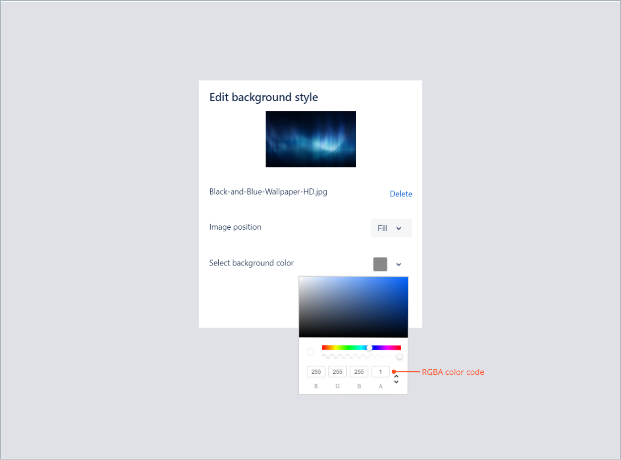 Entering the RGBA color code in top background with Theme Extension for Jira Service Management
