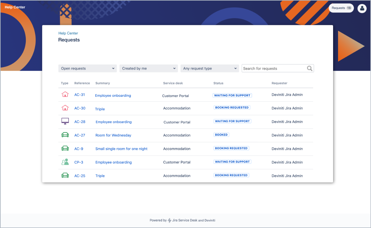 Example of bottom background configuration in my requests list with Theme Extension for Jira Service Management