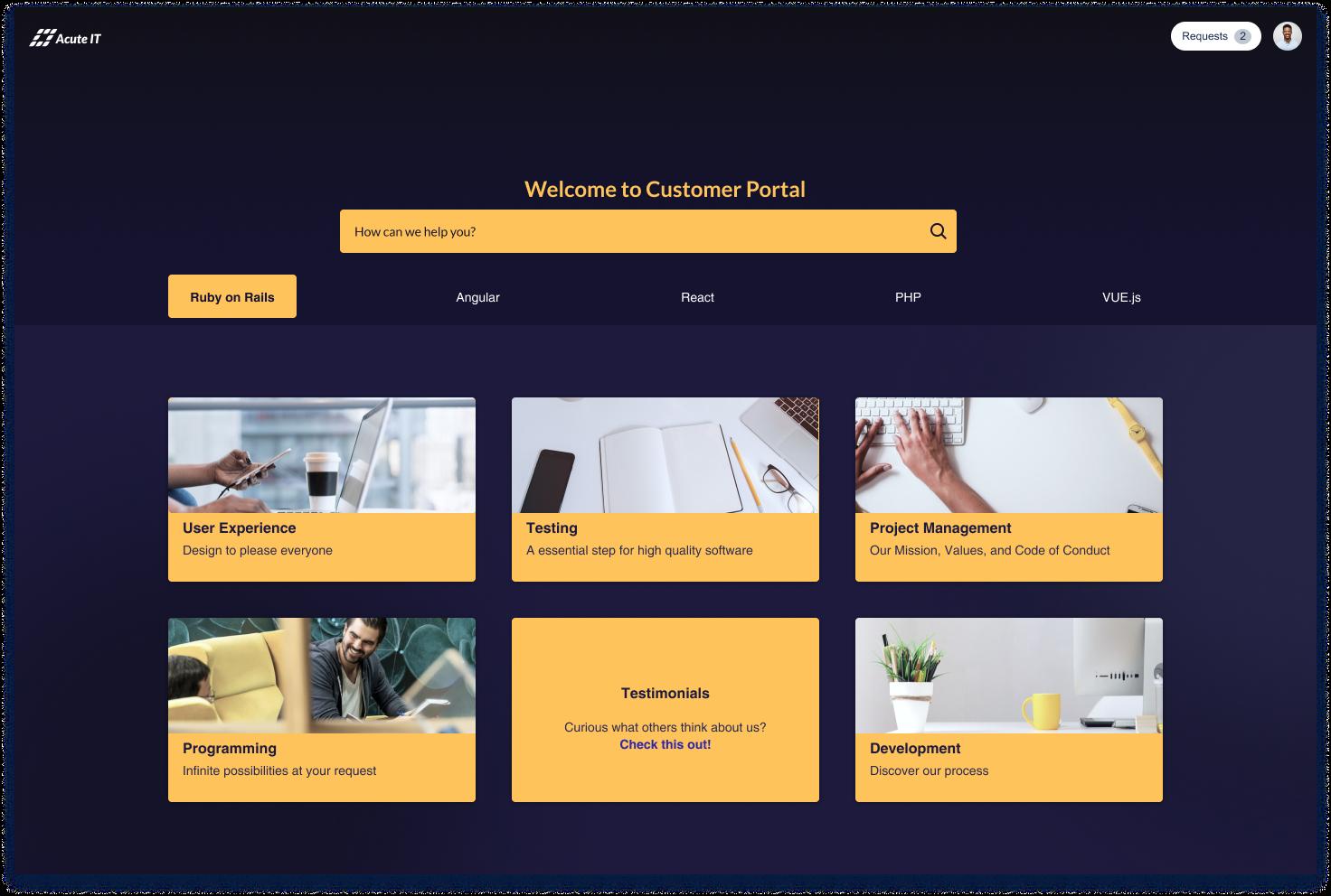 Vibrant but Minimal IT Company Customer Portal
