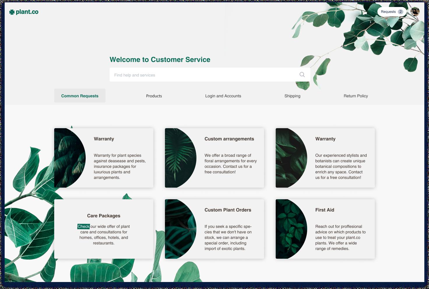 Stylish and Botanically Illustrated Floral Company Customer Portal