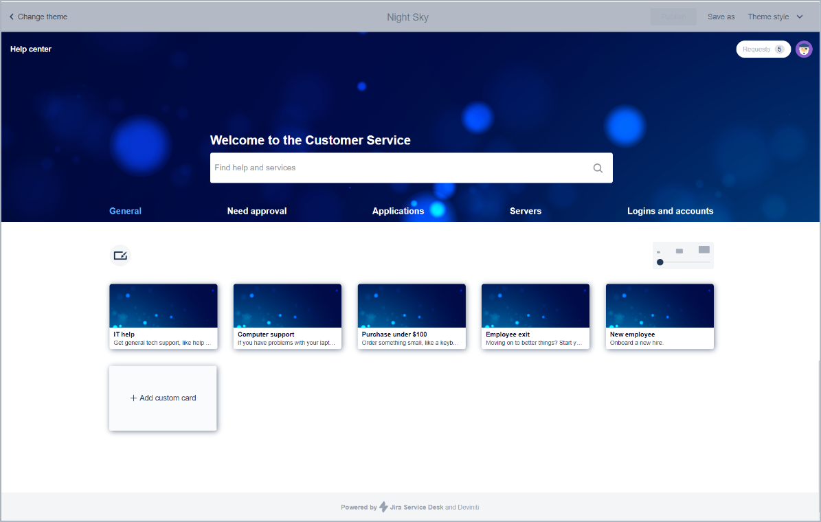 Example of five cards in a row with Theme Extension for Jira Service Management