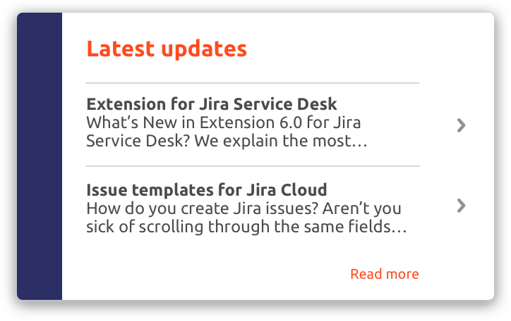 Example of custom card with links to other resources with Theme Extension for Jira Service Desk