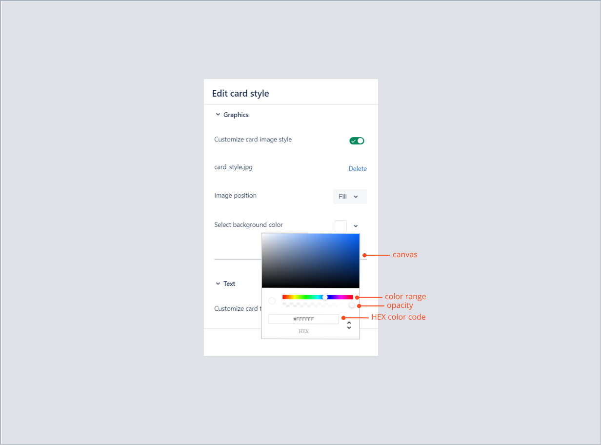 Entering the HEX color code of card background with Theme Extension for Jira Service Desk