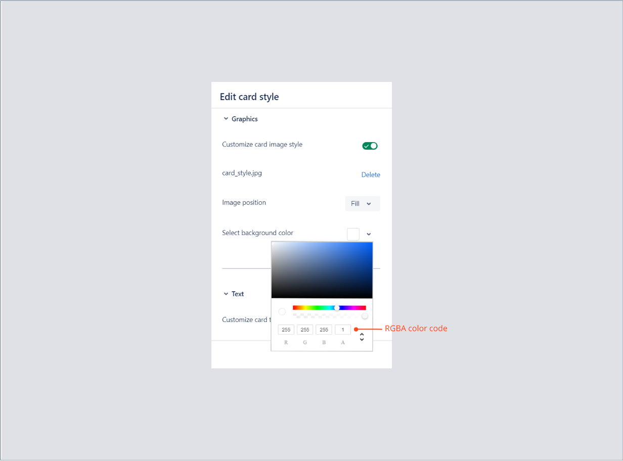 Entering the RGBA color code of card background with Theme Extension for Jira Service Desk